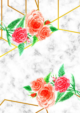 Invitation design with watercolor flower over marble with gold geometric lines.