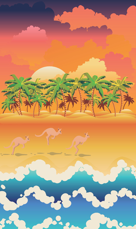 Abstract landscape design with cute kangaroo illustration.
