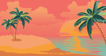 Sunny island with palm trees at sunrise time design.