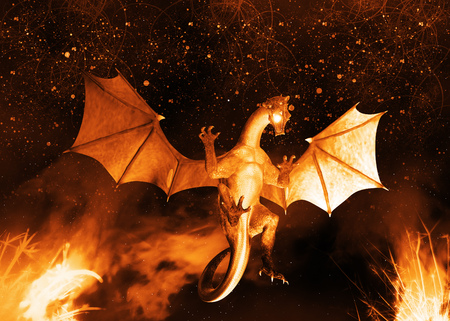Digital rendered dragon with flame abstract 3d illustration background.