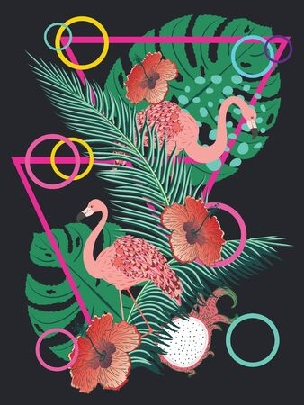 Cute cartoon pink flamingo with tropical leaves and fruits design illustration.