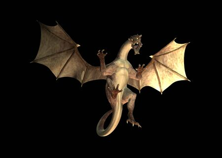 Digital rendered angry dragon over black background abstract 3d illustration.