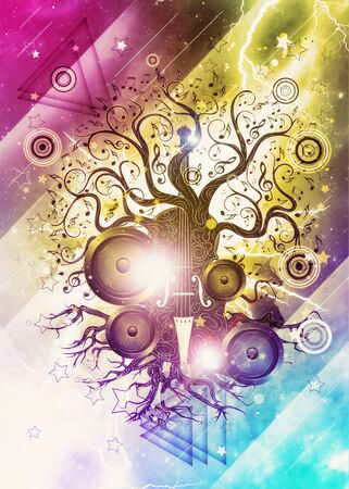 Modern glowing music poster with violin tree design background. Stock Photo