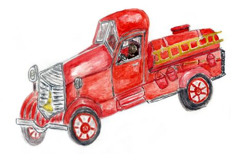Hand drawn red fire engine, fire truck  painted in watercolors.