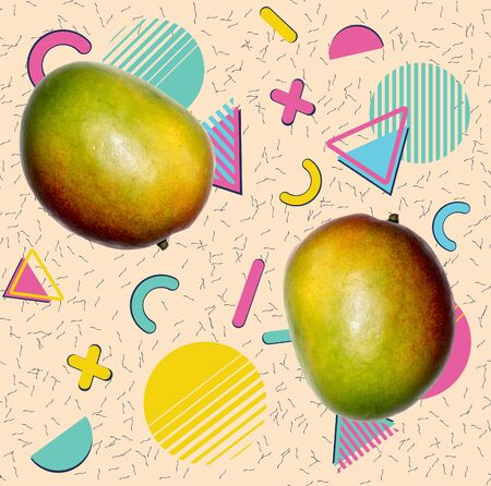 Retro style patterns with mango and colorful geometric elements design.
