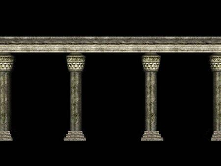 Ancient stone pillars detailed 3d rendered illustration.