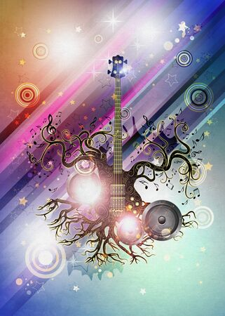 Modern glowing music poster with guitar tree design background. Stock Photo