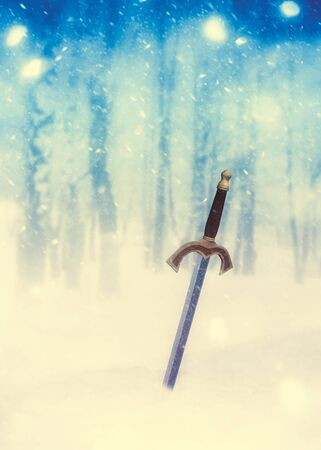 Medieval weapon 3d rendered sword surrounded by the falling snow, fantasy themed illustration. Stock Photo