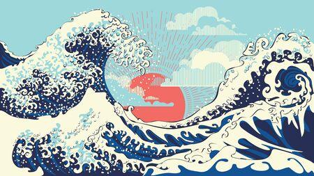 Illustration of stormy ocean with big waves, modern retro art design.