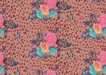 Spotted cheetah skin decorated with roses and leaves design. Ilustração