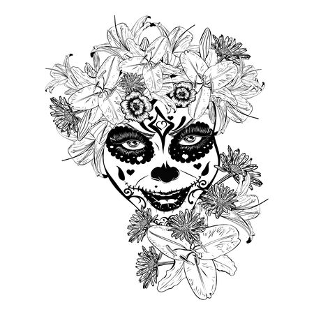 Zombie o strega donna con trucco teschio di zucchero di halloween in corona di fiori con fiori di giglio.