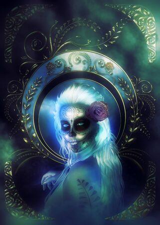 Portrait of a 3d woman with sugar skull make up, 3D illustration. Imagens