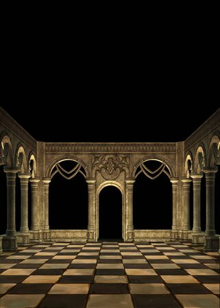 3D rendered ancient wall with arch windows and checkered floor illustration.
