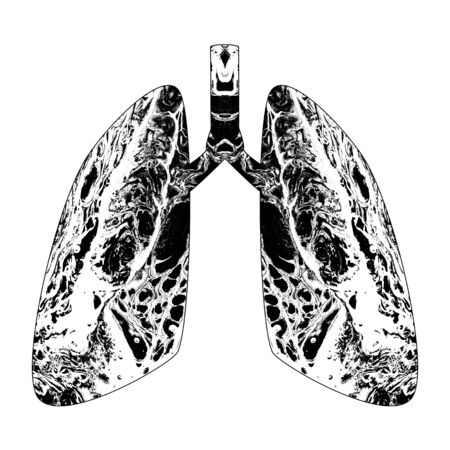 Silhouette of abstract human lungs with grunge marble texture. 스톡 콘텐츠