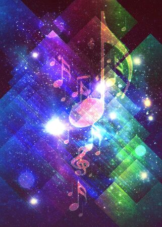 Colorful retro style music poster design background with hard paper texture and music notes.