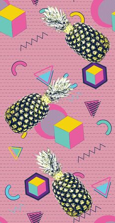 Retro style geometric patterns with pineapple colorful background.