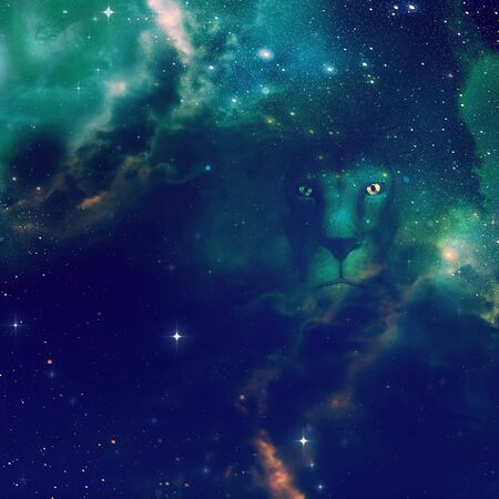 Digital rendered illustration of a 3d lion in the dark starry space scene.