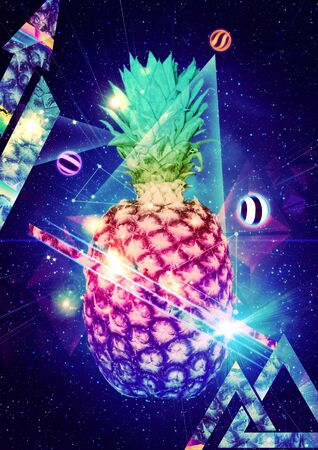 Big cutted pineapple over starry background with geometric elements.