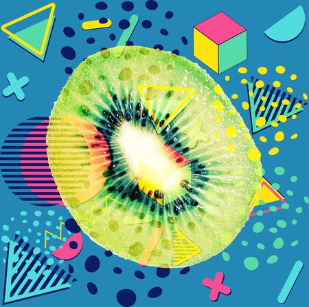 Retro style patterns with kiwi slice and colorful geometric elements design.