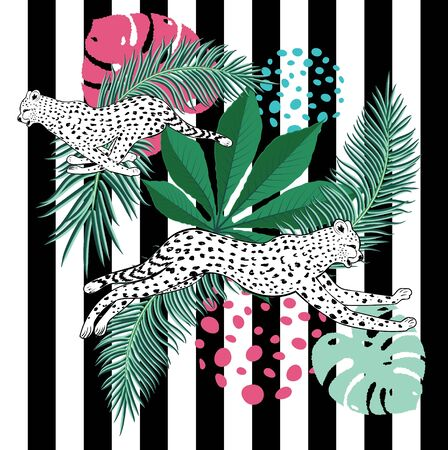 Vintage style animalistic design with running cheetah over striped background. Ilustracja