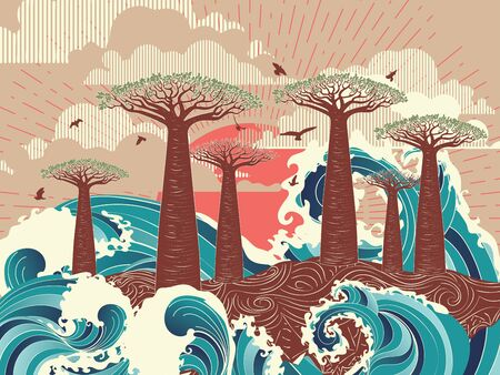 Stylized tree and stormy ocean or sea at sunset, art poster design. Ilustracja