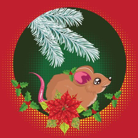 Decorative christmas, new years greetings with brown rat and poinsettia. Stock Illustratie