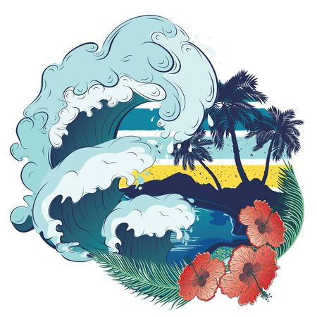 Abstract retro design of beach, palm trees and sea waves background.