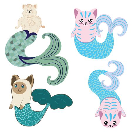 Cute cartoon cat with mermaid tail, fantasy creation.