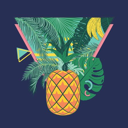 Geometric yellow orange pineapple with tropical leaves and fruits abstract retro style design. Иллюстрация