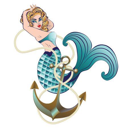 Fantasy creature mermaid with blond hair and fish tail. Ilustração