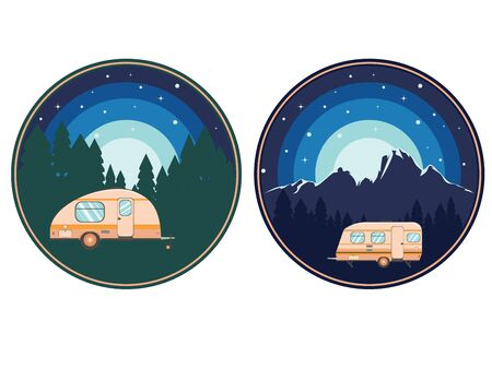 Forest near big mountain over night sky, summer camping themed illustration.