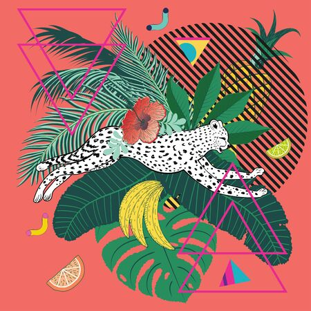Running cheetah with tropical fruits and leaves design. Иллюстрация