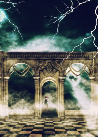 Mysterious ancient hall and female ghost or witch, 3d rendered illustration. Фото со стока - 130899635