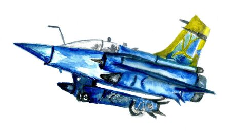 Watercolor military airplane design, hand drawn illustration.