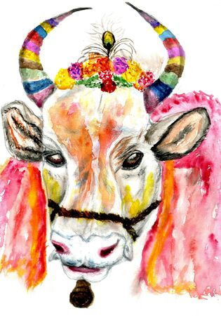 Hindu harvest festival, Pongal greeting with decorated cow hand drawn illustration.