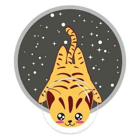 Cute cartoon yellow striped cat, abstract kawaii kitty design illustration.