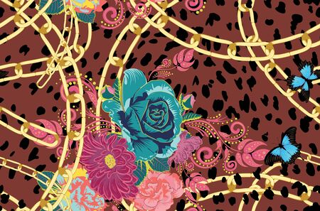 Spotted cheetah skin decorated with roses and leaves design. 일러스트