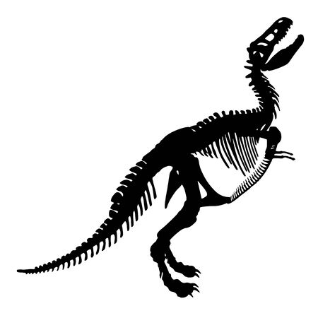 Black silhouette of a tyrannosaurus rex skeleton on white background.