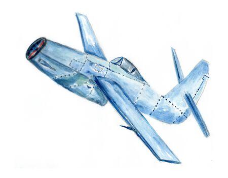 Cartoon retro style airplane hand drawn illustration. Stock Photo