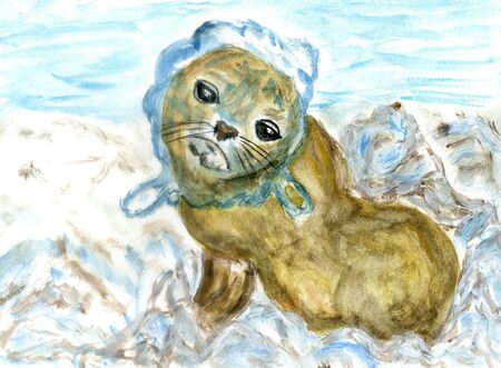 Cartoon seal is tangled in the net, ocean pollution themed illustration, hand drawn.