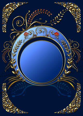 Decorative vintage frame with 3d golden floral over blue design. Stock fotó