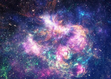 Glowing starry space with fractal texture design.