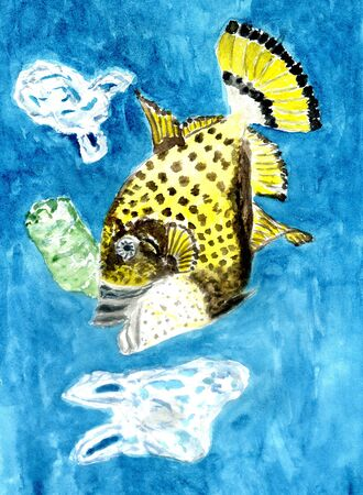 Garbage, plastic waste in the ocean, ecological crisis themed illustration, hand drawn design. Zdjęcie Seryjne