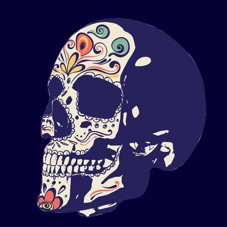 Day of the dead floral sugar skull colorful design. Çizim