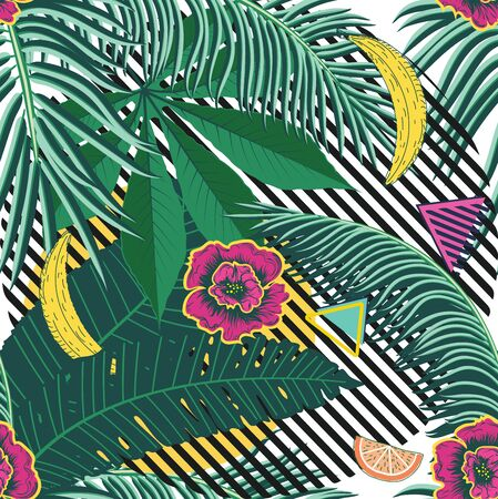 Various tropical leaves and fruits, summer themed pattern design. Stok Fotoğraf - 132299492