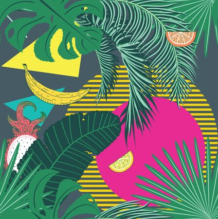 Various tropical leaves and fruits, summer themed pattern design. Çizim