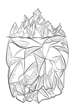 Line art design of a big iceberg in black and white illustration. Vecteurs