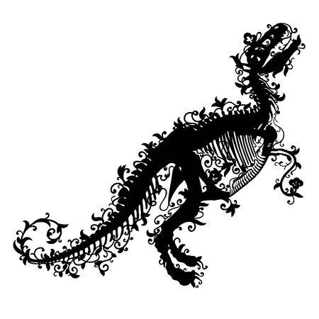 Black silhouette of a tyrannosaurus rex skeleton on white background. Vettoriali