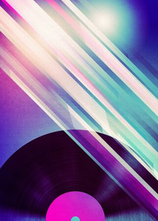 Grunge retro style poster with vinyl record design, music themed background.