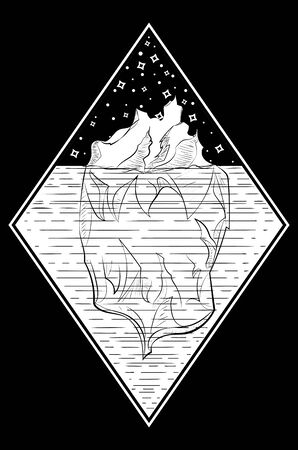 Line art design of a big iceberg in black and white illustration. Иллюстрация